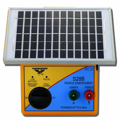 Thunderbird Solar Electric Fence Energiser S28B - 2.5km portable farm fence unit