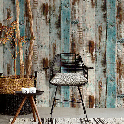 Rustic Wood Plank Wallpaper Peel and Stick Furniture Wall Stickers Bedroom 19ft