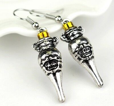 Harry Potter Felix Felicis Magic Luck Potion Charm Bottle Dangle Earrings