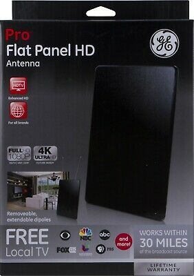 GE 33688 PRO Flat Panel HD Antenna - Indoor VHF/UHF HDTV Antenna - 30 Mile Range