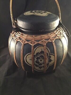 "Vintage 10"" Lidded Rice Carrier Black And Natural Bamboo Thailand Flower Design"