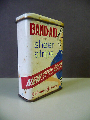 Kleine Blechdose Band-Aid Sheer Strips / Heftpflaster Johnson-Johnson