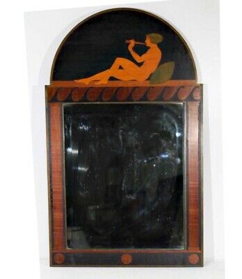 Rare Antique Early Century Art Deco Arts & Crafts Marquetry Mirror