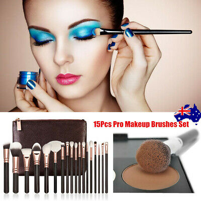 Soft 15Pcs Cosmetic Brush Set Pro Face Powder Makeup Brushes Eyeshader Blending