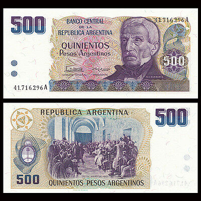 Argentina 500 Pesos Banknote, 1984, P-316, UNC, South America Paper Money