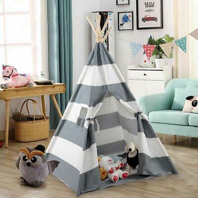 Gray Teepee Tent Cotton Canvas Kids Wigwam Childrens Indoor Outdoor Play House