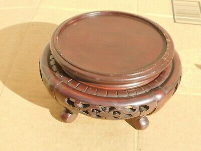 "Old Chinese 4 legs hand carved wood display stand, 4-1/2"" Diameter"