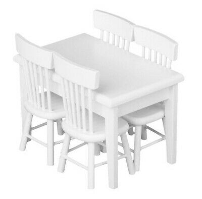 1:12 Dollhouse Miniature Furniture White Dining Room 1 Table 4 Chairs 5pc/Set A