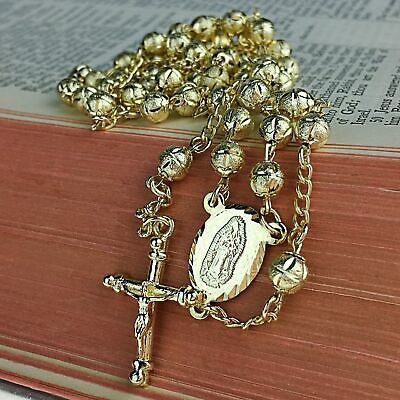 """Gold Filled Rosary 27"""" Rosario Oro Laminado La Virgen Chain Necklace 5.5MM Beads"""