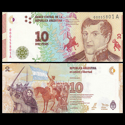 Argentina 10 Pesos Banknote, ND(2016), P-NEW, UNC, South America Paper Money
