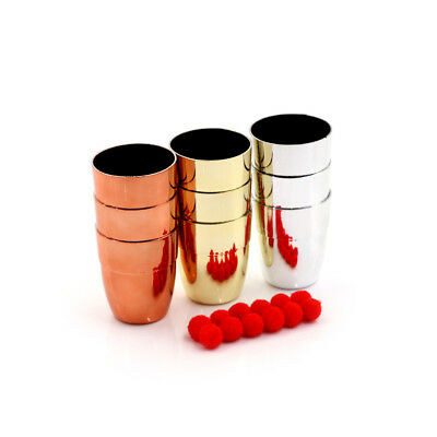 3Pcs Cups &4Pcs Balls Children Magic Trick And Pro Close Up Magician Pro EO