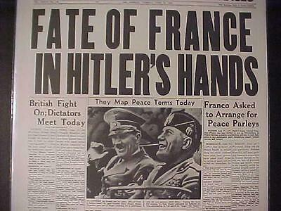 Vintage Newspaper Headline~World War 2 Nazi Germans Hitler Mussolini France Wwii