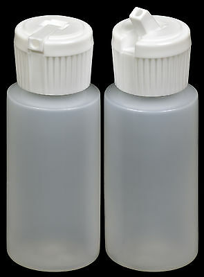 Plastic Bottle w/White Turret Lid, 1-oz., (HDPE), 50-Pack, New