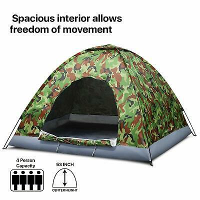 4 Person Camping Tent, Camouflage - Large Waterproof Lightweight Family Tent UK