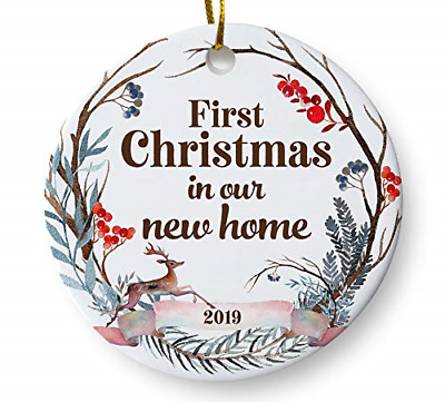"""First Christmas in Our New Home 2019 Christmas Ornament, Whimsical Woodland 3"""""""