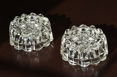 Round Elegant Candle Stick Holders Heavy Clear Crystal Glass Vintage 1 Pair