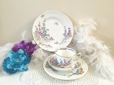 Crown Staffordshire teacup with Mallows flowers, Antique English Teacup trio