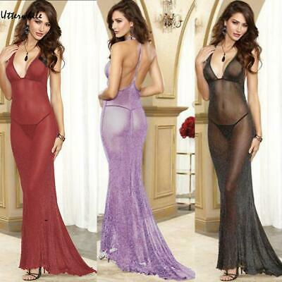 Women Sexy Lingerie Solid Deep V Babydoll Long Dress G-String Nightwear U8HE 01