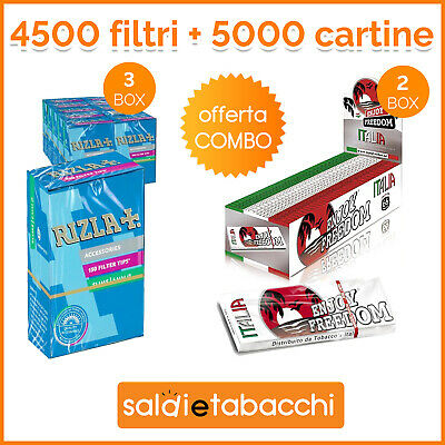 4500 filtri Rizla Slim 6 mm + 5000 cartine Enjoy Freedom Corte Bianche