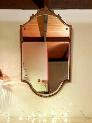 Unique Beveled Edge Shield Mirror With Ornate Detail and Rope Edging - Art Deco
