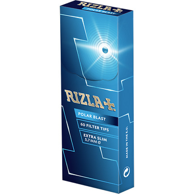 Rizla Polar Blast Extra Slim Filter Tips- 60 Tips Per Box- 3 Boxes For £4.29