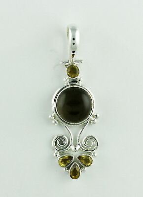 Solid 925 Sterling Silver Smoky Quartz Natural Citrine Gemstone Pendants 10.3 Gm