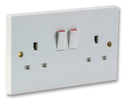 13A White Plastic  Double Mains Wall Socket Plug Outlet Switch Switched
