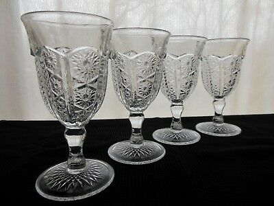 Indiana Glass 4 Clear Pattern #123 Paneled Daisy & Finecut Heirloom 8 oz Goblets