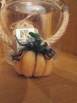 Needle Felted Pumpkin Brooch, OOAK Hand Crafted, Natural Wool