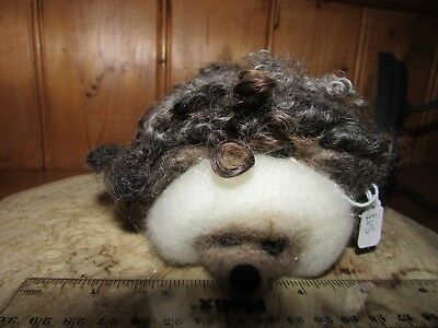 Needle Felted Hedgehog OOAK Hand Crafted, Natural Wool