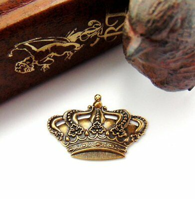 ANTIQUE BRASS (2 Pieces) Crown Stamping ~ Jewelry Oxidized Finding (FA-6085)