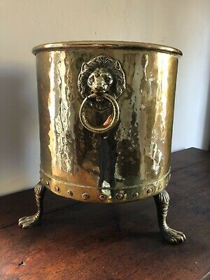 Good Heavy English Antique Hammered Riveted Brass Fire Coal Bucket Planter