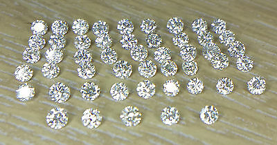 Natural Loose Diamond Wholesale Lot 50pc 1.6mm 0.85cts I1 Clarity J Color Round