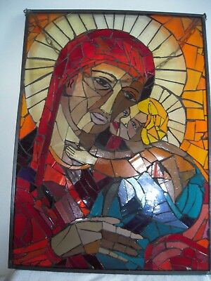 Fensterbild Glasmalerei/Glasbild  Mutter Maria mit Kind
