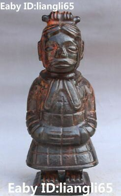 """9"""" Chinese Hongshan Culture Old Jade Terracotta Army People Warrior Man Statue"""