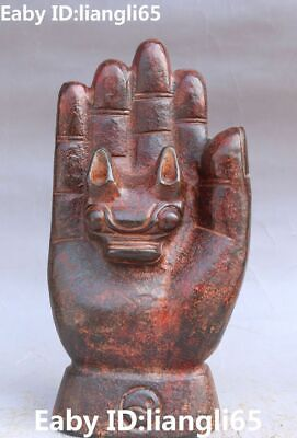 """9"""" Rare Chinese Hongshan Culture Old Jade Carving Buddha Hand Hold Beast Statue"""