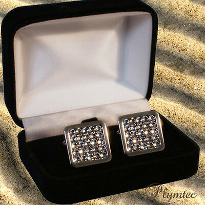 Wedding Men's Cufflinks with Swarovski Crystals Gift Boxed ENGRAVING
