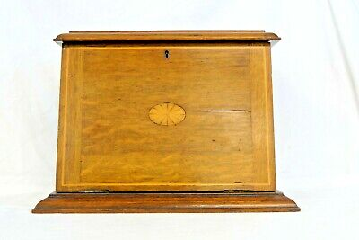 Antique Wooden Inlaid Stationery Writing Box, With Lock (No Key)            #wo#