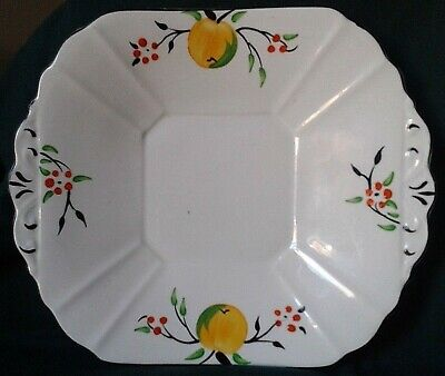 Melba Ware Cake Plate Art Deco Bone China Serving Platter Yellow Green And Red