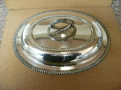Antique Oval Shaped Silver Plated Lidded Serving Dish, Serving Tureen 'T W & S'