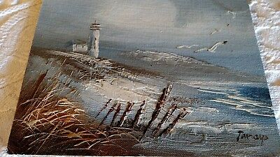 Vtg SIGNED Sea gull old Ocean painting/wood scenic picture Lake Decor Lighthouse