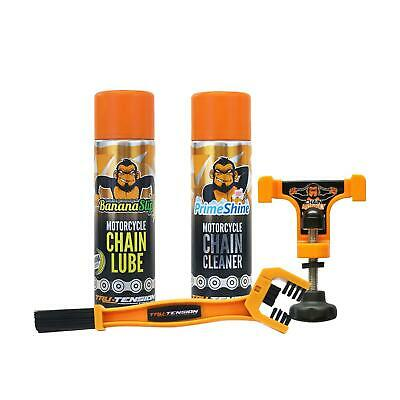 Tru-Tension Ultimate Chain Care Cleaner Lube Wax Spray Brush Monkey Motorcycle