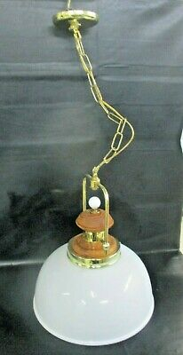 "Art Deco Hanging Ceiling Light Lamp Fixture Ornate Milk Glass 15"" Shade"