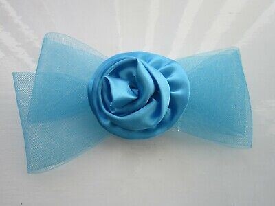 New Blue FASCINATOR | Bow | Netting | Satin Rosette | Wedding Prom Races (29A)