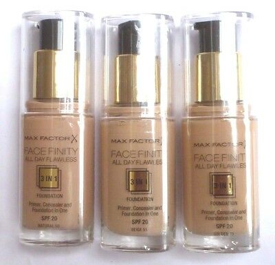 MAX FACTOR FACEFINITY 3 IN 1 FLAWLESS  FOUNDATION 30ml-VARIOUS use drop menu