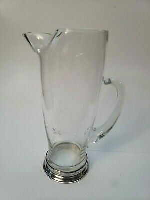 Antique Pitcher Curved Glass Spout Starburst Engraved Sterling Base Wallace Rare