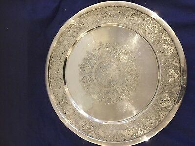 Museum Quality Middle Eastern Ghajar Islamic Persian Solid Silver Tray 508 grams