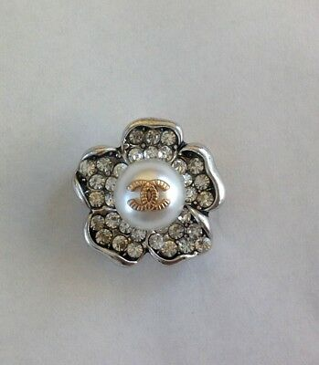 Vintage Chanel Flower Buttons Silver Crystal Color Size 27Mm