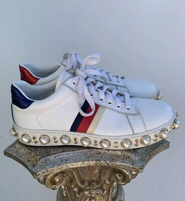 6da35a933a1 Gucci Womens Ace Pearl Stud White Leather Sneakers Designer Shoes US 8 EUR  38-39