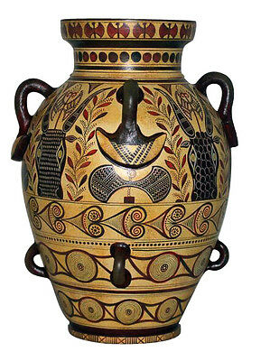 Ancient Greek Geometric Amphora Amphorae Vase Museum Replica Reproduction